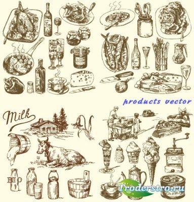 Винтажные продукты - Молоко, рыба, сыр (Вектор)