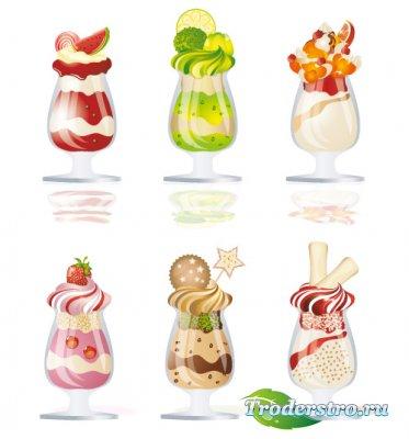 Полосатое мороженое в стакане (Вектор)