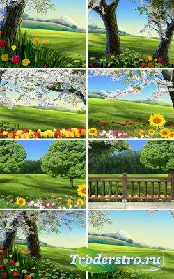 Природные фоны с цветами