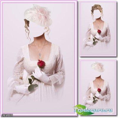 Женский шаблон для фотошопа – Дама с цветком
