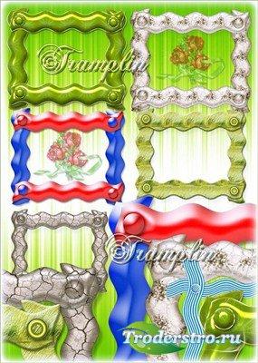 Волнистые рамки-вырезы с клепками на прозрачном фоне