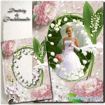 Свадебная рамка для фото с цветами