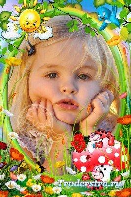 Детская рамка для photoshop - Божьи коровки
