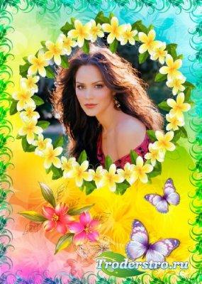 Женская рамка с цветочным обрамлением