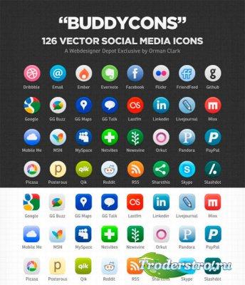 Социальные иконки в векторе - Buddycons
