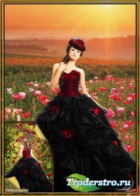 Многослойный женский psd шаблон - Девушка в шикарном черном платье с красны ...