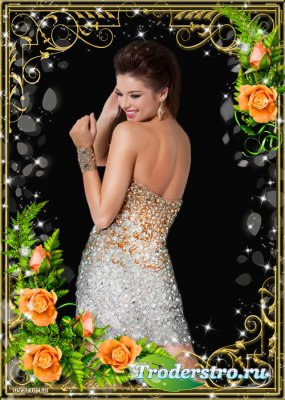 Цветочная рамка - Чудесные розы в золотых орнаментах