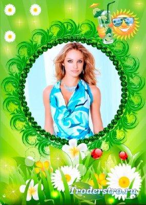 Женская рамка - Летнее настроение, светло зелёный фон