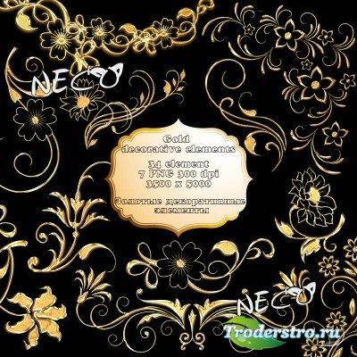 Золотые цветочные и декоративные элементы PNG
