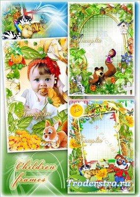 Сборник красивых детских рамок  - Маша и медведь, Рисую, Белочка