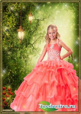 Детский шаблон для фотошопа - Шикарное ярко-оранжевое платье для девочки