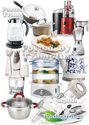 Для дома – Утюги, чайники, миксеры, пароварки на белом фоне