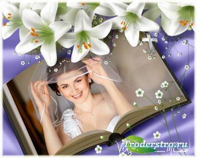 Романтическая фоторамка для фотошопа с белыми лилиями