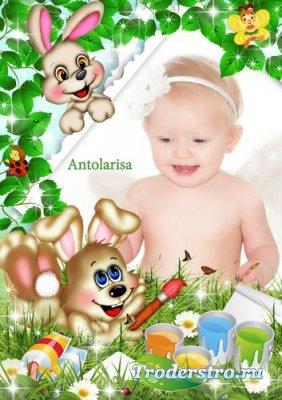 Детская рамочка для фото с двумя милыми зайками