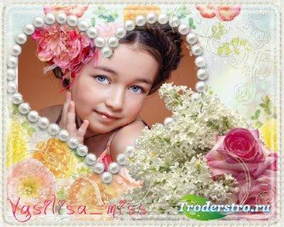 Очень красивая цветочная рамочка для фотошопа с красивым букетом и нежным ц ...