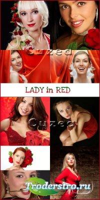 Девушки в красном- растровый клипарт