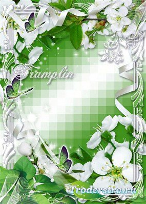 Рамка для фотошоп – Белые цветы с запахом весны
