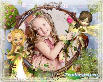 Яркая детская фоторамочка с яркими и забавными феями в сказочной стране