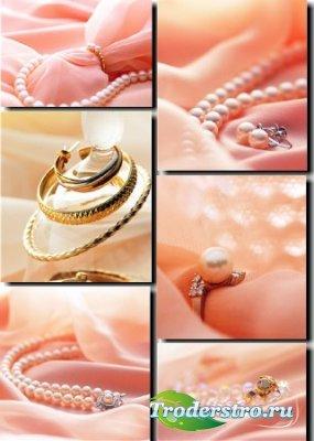 Растровые фоны - Жемчуг на розовом