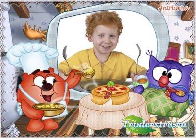Детская рамочка для фото с героями м/с « Смешарики» - Угощайся!
