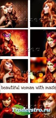 Прекрасная девушка с маской- растровый клипарт