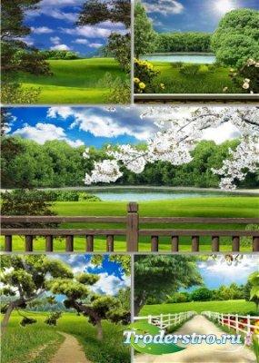Растровый клипарт - Сочные зеленые пейзажи
