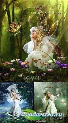 Лесная сказка - феи и бабочки (многослойные PSD)