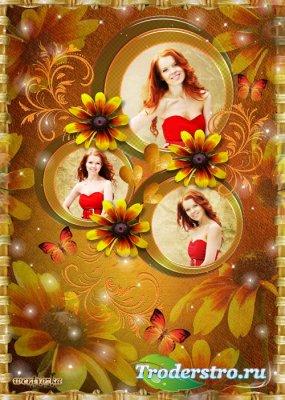 Рамка для фотошопа - Осенние цветы согреют душу светом