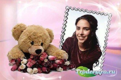Фоторамка с медвежонком - Лишь тебе одной дарю букет цветов
