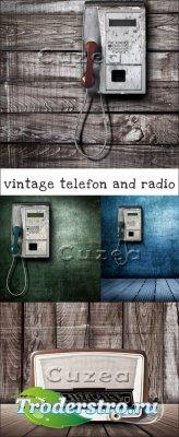 Винтажные телефоны и радио- растровый клипарт