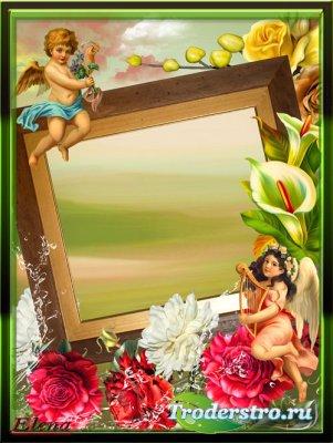 Рамка для фотошопа - Маленькие ангелочки и прекрасные цветы