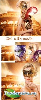 Молодая девушка с маской- растровый клипарт,часть 2