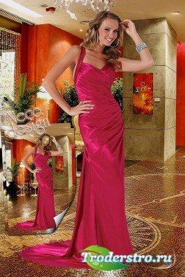 Женский шаблон - В вечернем розовом платье