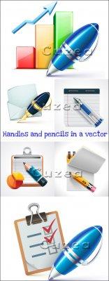 Ручки, карандаши и блокноты в векторе