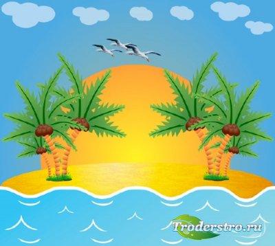 Клипарт Островок - Пальмы кокосы море