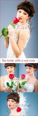Невеста с красной розой- растровый клипарт