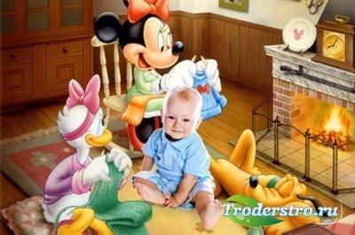 Яркий детский шаблон для Photoshop - Микки-Маус