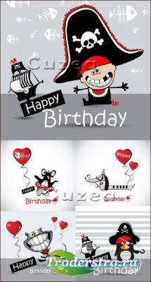Красное и чёрное - векторные карточки пиратской тематики ко дню рождения