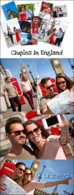 Влюбленная пара путешествует по Лондону - растровый клипарт