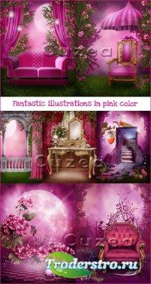 Сказочные иллюстрации в розовом цвете