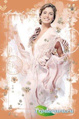 Женский шаблон для фотошопа с девушкой в красивом платье - От Валентино