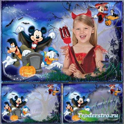 Детская фоторамка к празднику - Хэллоуин с Микки Маусом, Гуфи и Дональдом
