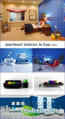 Интерьер квартиры синих тонов - растровый клипарт