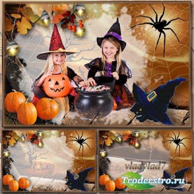 Детская фоторамка для Photoshop с черным котенком к празднику Хэллоуин