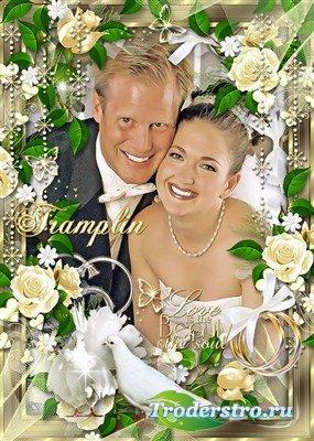 Свадебная рамка – Желаем вам мы до ста лет - друг друга ждать, любить, хоте ...