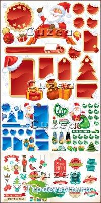Рождественские скидки - баннеры, стикеры и этикетки красного, зелёного и си ...