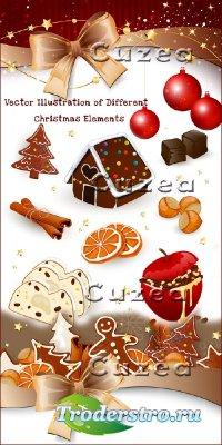 Векторные иллюстрации с различными рождественскими объектами