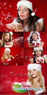 Девушки-снегурки на красном фоне - растровый клипарт