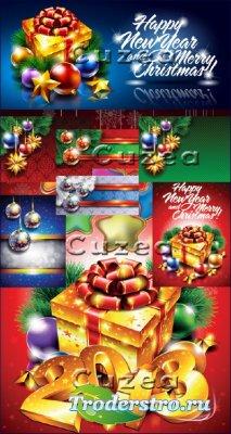 Баннеры и надписи с рождеством и Новым годом 2013 в векторе