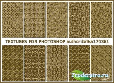 Объёмные золотые текстуры для дизайна в фотошоп